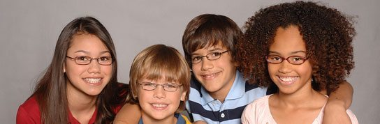4 kids wearing glasses