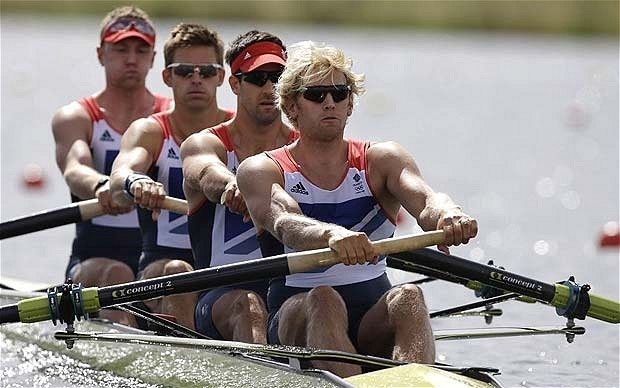 great britian rowing team with sunglasses