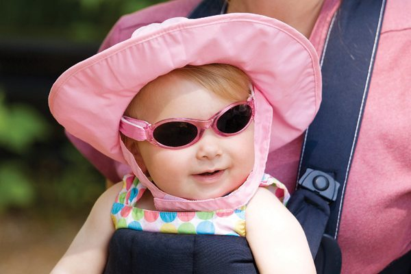 pink infant sun hat and sunglasses for girls