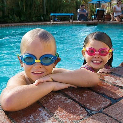 Kids wearing One Step Ahead Swim Goggles