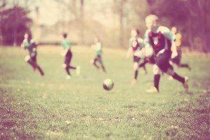 Soccer game, blurred image. Instagram effect.